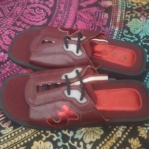 Miu Miu Slides Shoes Leather Burgundy 9